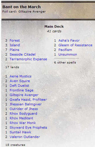 Bant on the March list